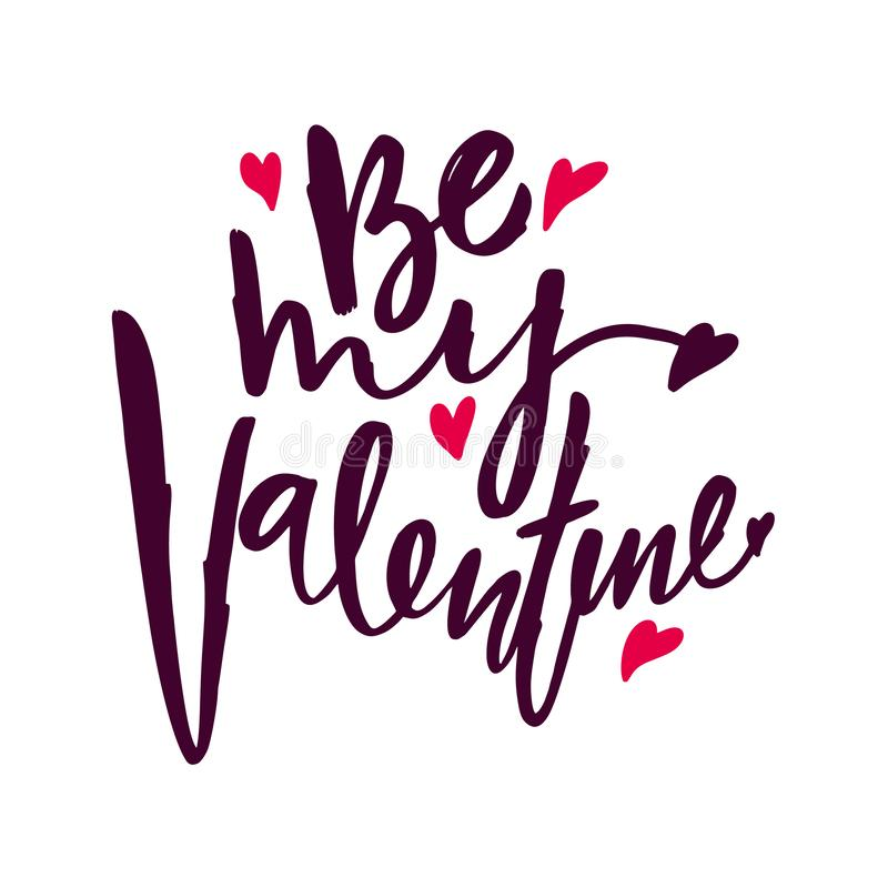 Happy Valentine`s Day hand drawn vector lettering inscription positive typography poster, conceptual handwritten phrase. Modern calligraphy vector illustration royalty free illustration