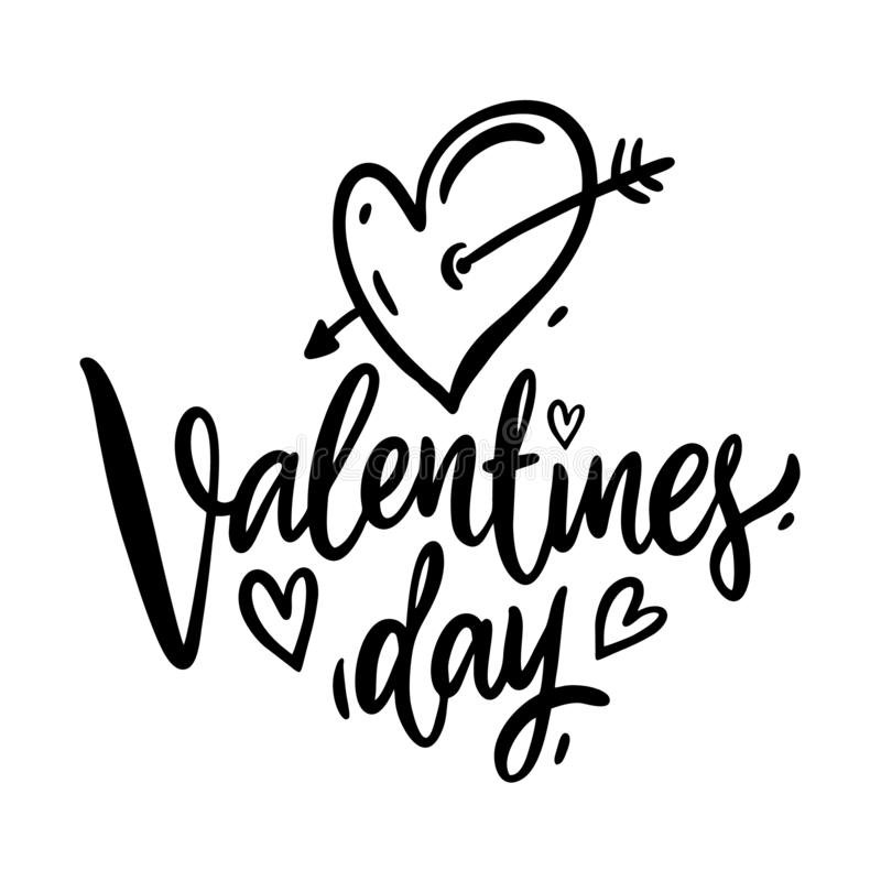 Happy Valentine`s Day hand drawn vector lettering. Isolated on white background. Vector illustration royalty free illustration