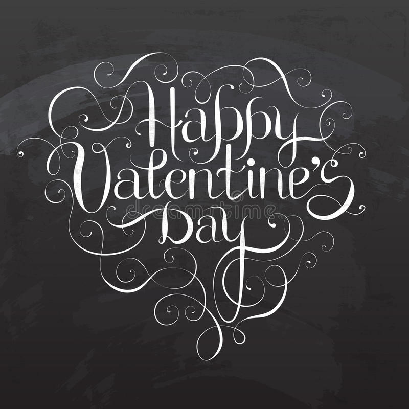 Happy Valentine`s DAY hand lettering. On blackboard - custom handmade calligraphy, vector vector illustration