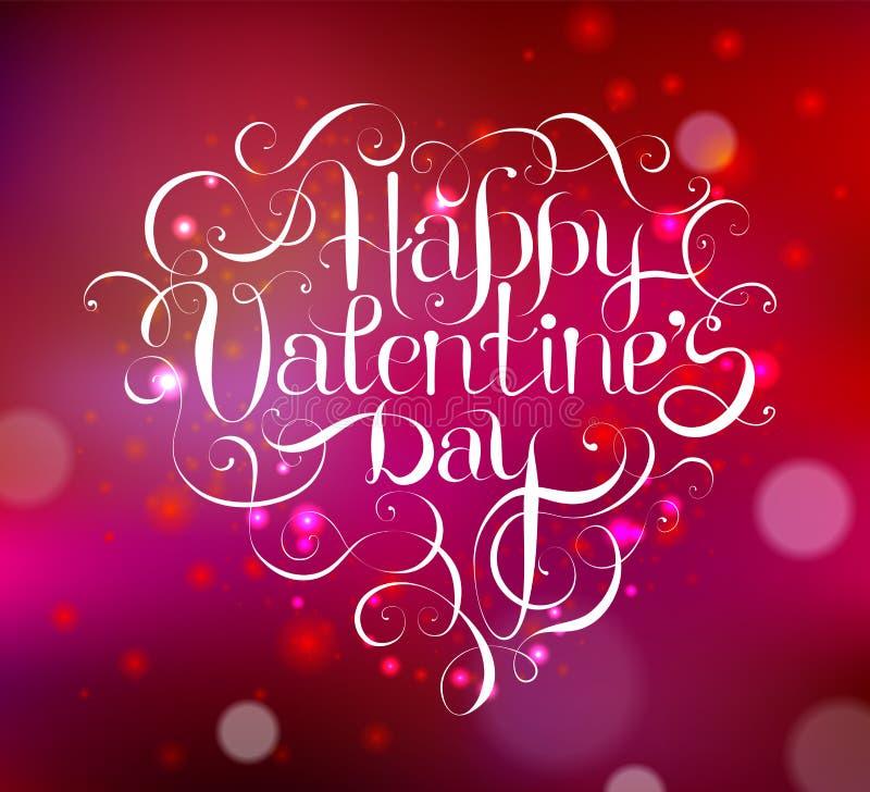 Happy Valentine`s DAY hand lettering. Custom handmade calligraphy, vector stock illustration