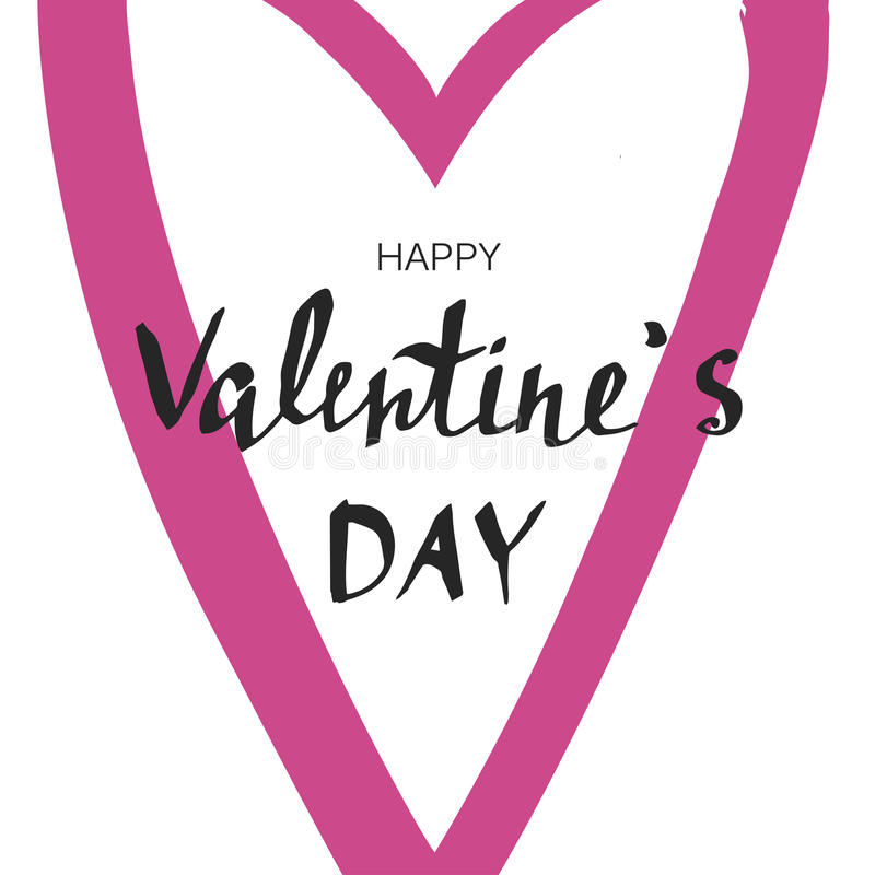 Happy Valentine`s day. Handwritten lettering, calligraphic phrase on white background royalty free stock photos