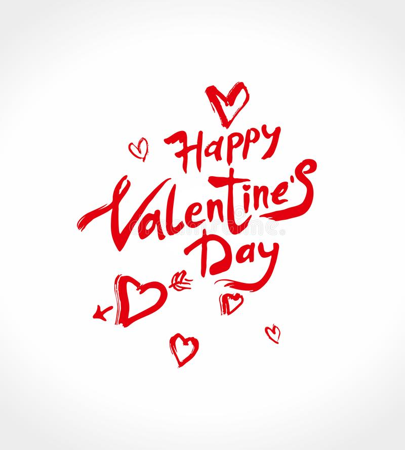 Happy Valentine`s Day handwritten lettering. Red calligraphic text with red air hearts. stock illustration