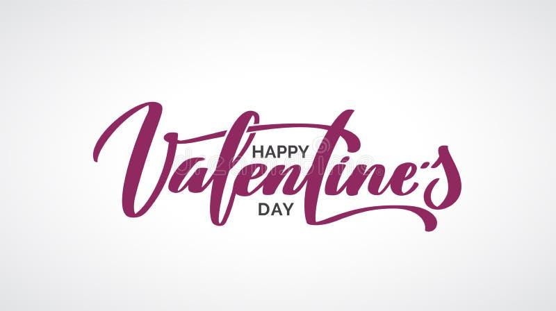 Happy Valentine Day hand-written lettering. vector illustration