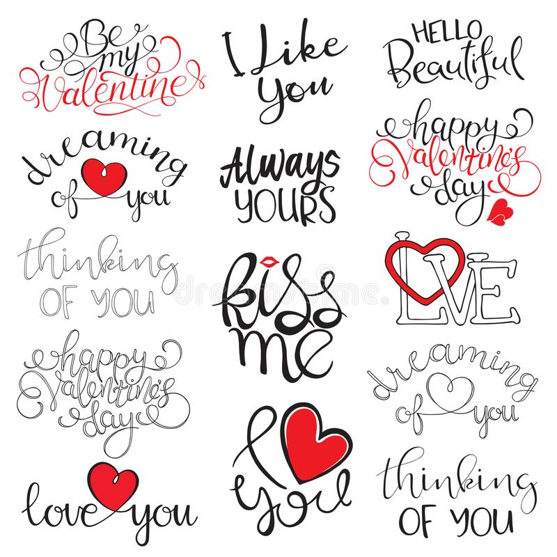 Happy Valentine`s Day handwritten lettering. Vector illustration stock illustration