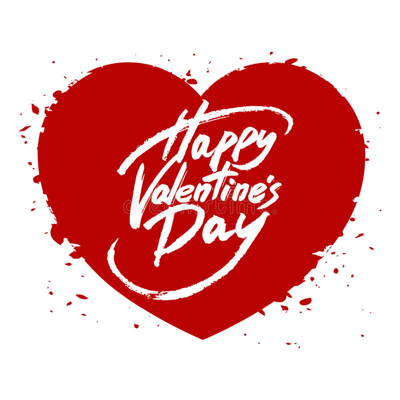 Happy Valentine's Day handwritten text, brush pen lettering on heart. Vector illustration stock illustration