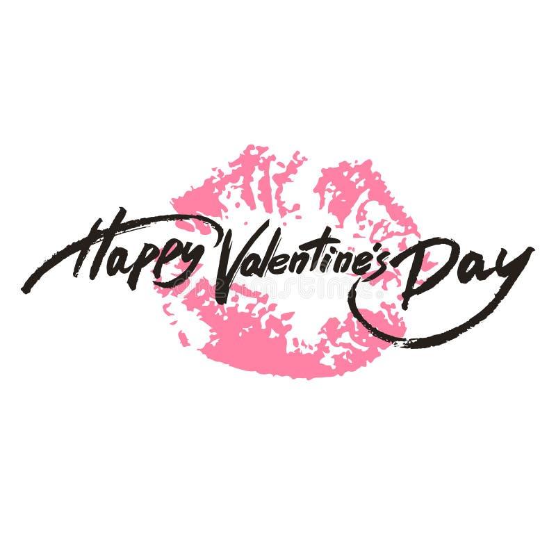 Happy Valentine's Day handwritten text, brush pen lettering on lipstick trace. Vector illustration vector illustration