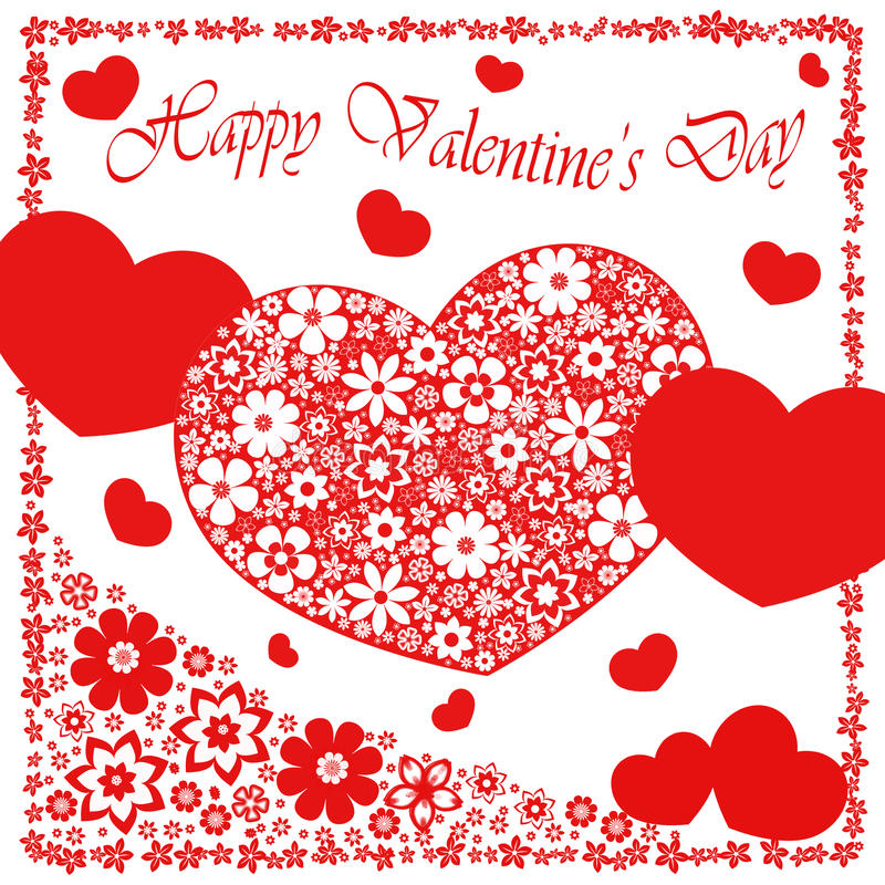Happy valentine`s day - heart flowers collection stock illustration