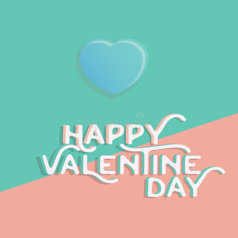 Happy valentine`s day heart , greeting happy valentine day holid. Ay , valentine day with color Pastels love royalty free illustration