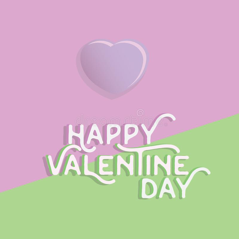 Happy valentine`s day heart , greeting happy valentine day holid. Ay , valentine day with color Pastels love stock illustration