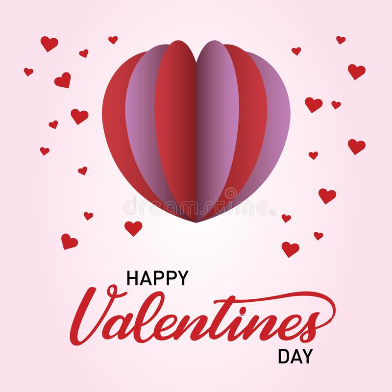 Happy Valentine`s Day with Heart Pop. Happy Valentine`s Day celebrates for people who are in love with their beloved ones stock illustration