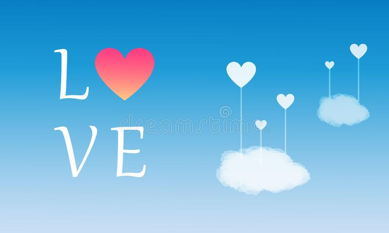 Happy Valentine`s Day, Heart Shape with realistic Cloud on Gradient sky Background, Design for Web banner, Poster stock illustration