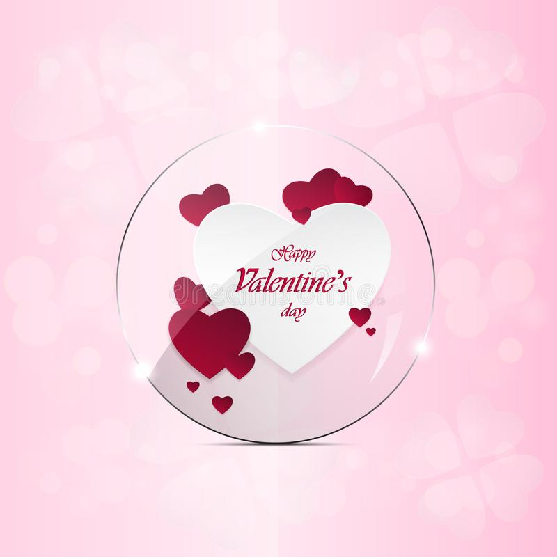 Happy Valentine`s Day and heart-shaped design elements On a pink background royalty free stock images