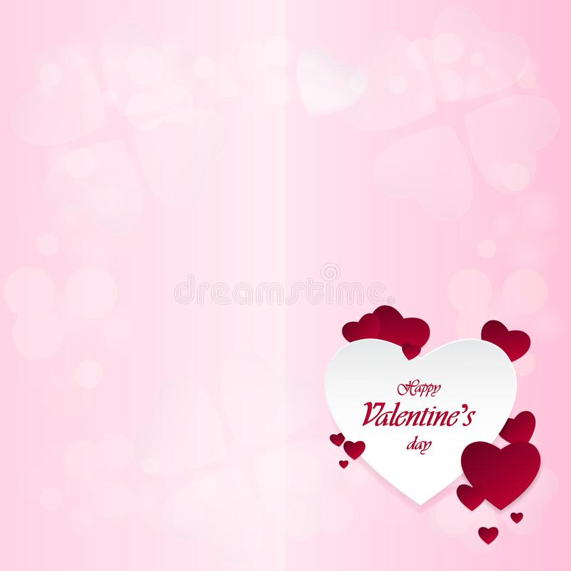 Happy Valentine`s Day and heart-shaped design elements On a pink background royalty free stock photography