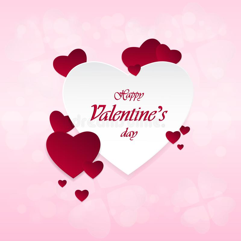 Happy Valentine`s Day and heart-shaped design elements On a pink background royalty free stock photos