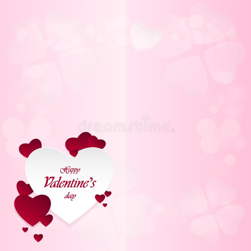 Happy Valentine`s Day and heart-shaped design elements On a pink background royalty free stock image