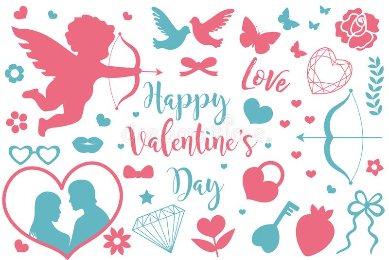 Happy Valentine`s Day icon set of stencil silhouettes. Cute romance love collection of design elements with cupid, heart stock illustration