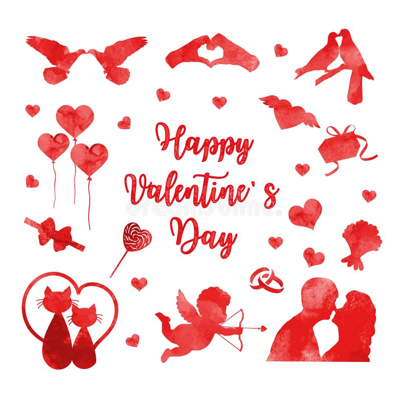 Happy Valentine`s Day icon set of watercolor silhouettes. Cute romance love collection of design elements with heart. Couple, cats, pigeons. Vector vector illustration