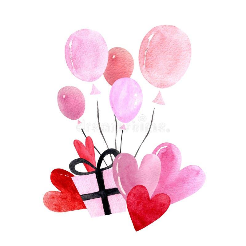 Happy Valentine`s Day illustration with balloons and hearts. Happy Valentine`s Day illustration. Watercolor illustration vector illustration