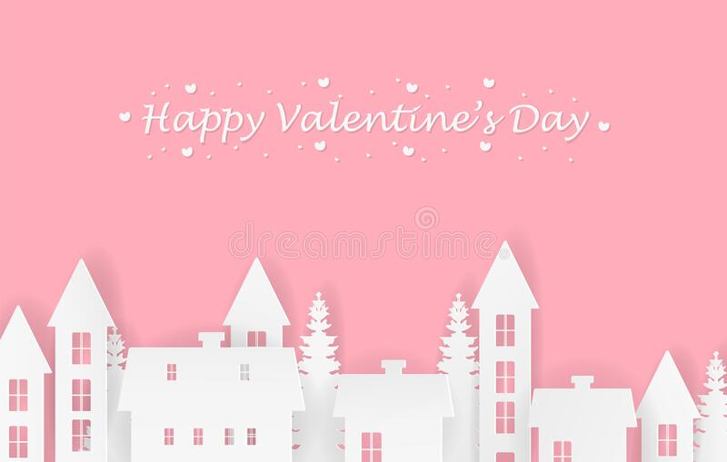 Happy valentine`s day illustration in the village concept and pink background. Paper art and digital craft style. stock photography