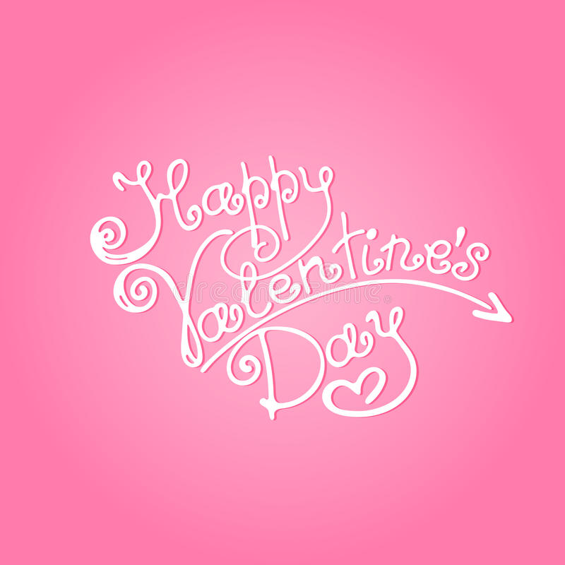 Happy Valentine`s Day inscription on a pink background.  stock illustration