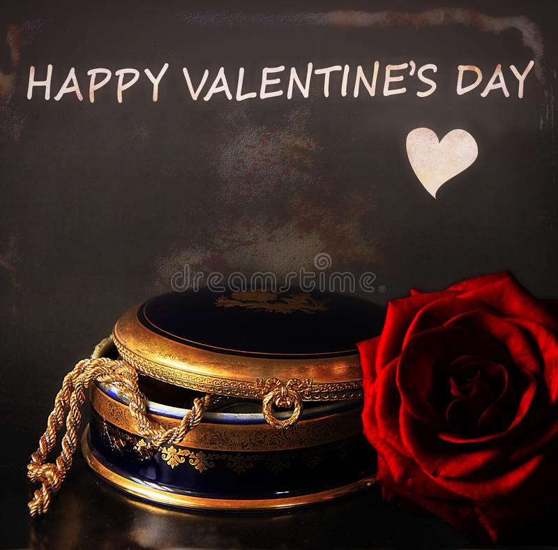Happy Valentine`s day with present and red rose stock photography