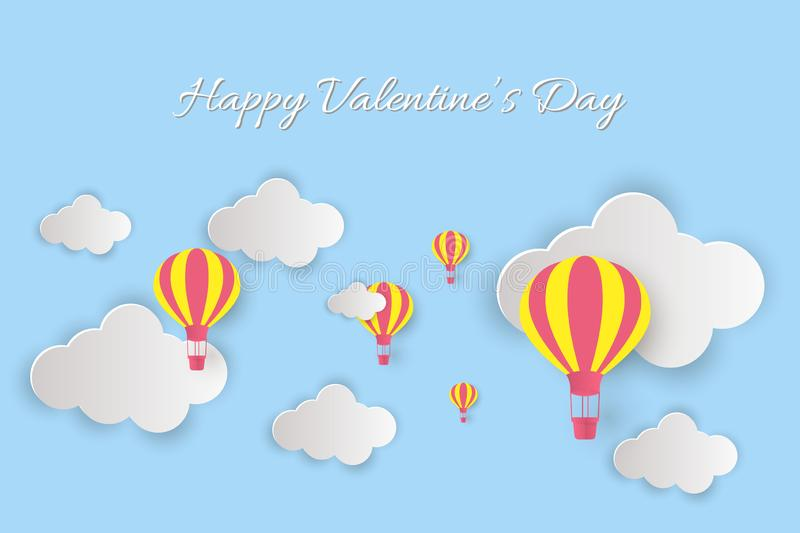 Happy Valentine`s Day lettering! Beautiful clouds and air balloons! Abstract paper art 3D vector illustration on blue background. Valentines Day card stock illustration