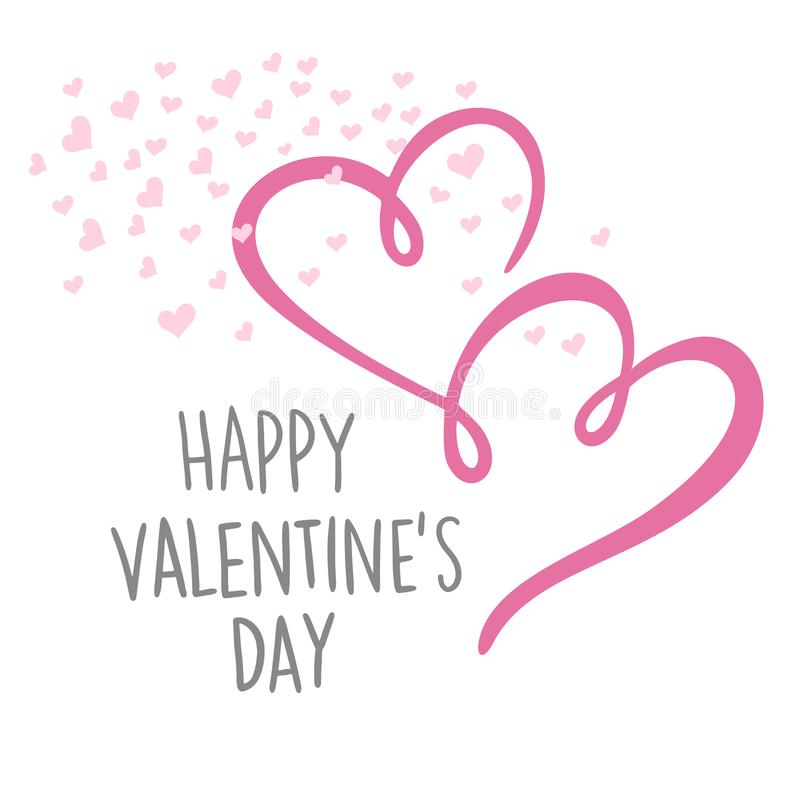 Happy Valentine`s day lettering card. Vector illustration. Happy Valentine`s day lettering card. Vector illustration royalty free illustration