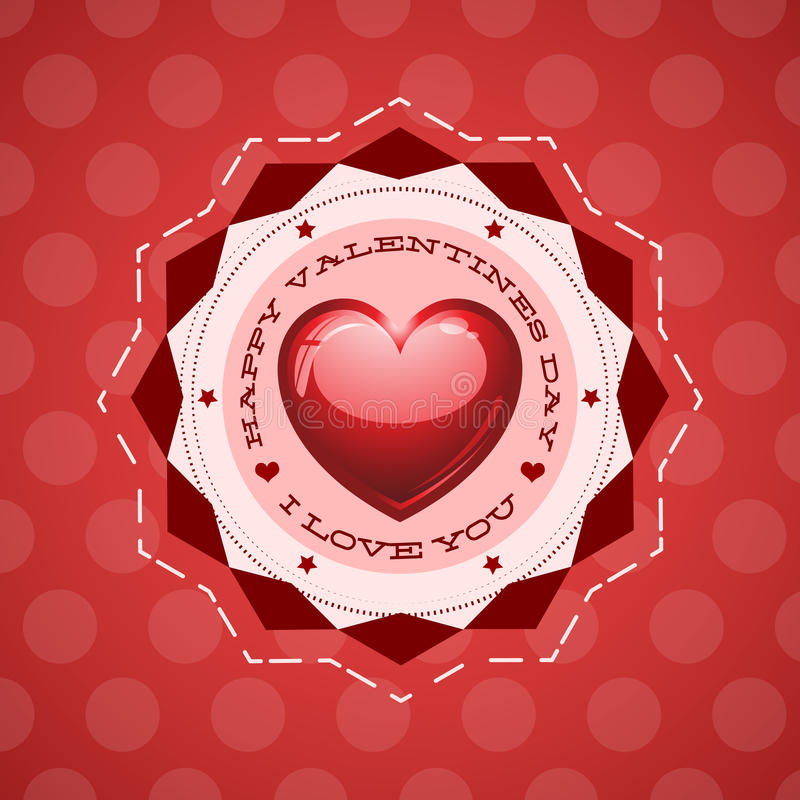 Happy Valentine s Day lettering Greeting Card. On red background, vector illustration - love heart - eps 8 available stock illustration