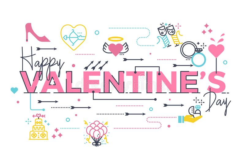 Happy Valentine`s day lettering. Happy Valentine`s day word lettering illustration with icons for web banner, card, poster, etc vector illustration