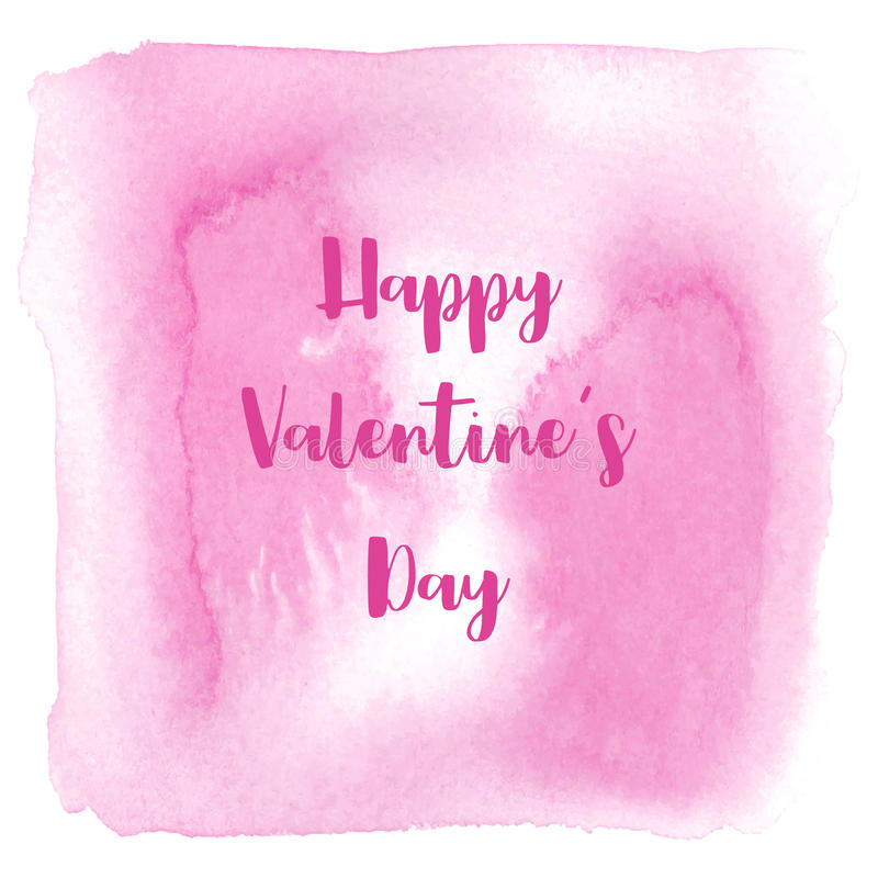 Happy Valentine s day lettering on pink watercolor background.  stock illustration