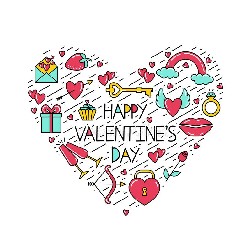 The inscription Happy Valentine`s Day with symbols and black lines arranged in the shape of a heart. stock illustration