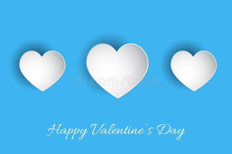 Happy Valentine`s Day lettering Vector illustration! Beautiful Heart! Abstract paper art 3D Hearts. On blue background vector illustration