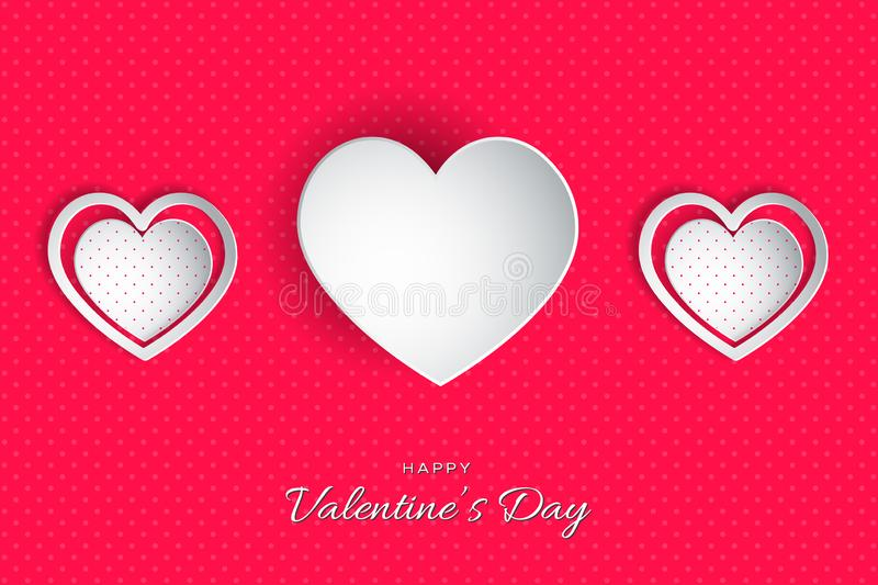 Happy Valentine`s Day lettering Vector illustration! Beautiful Heart! Abstract paper art 3D Hearts on pink stock illustration