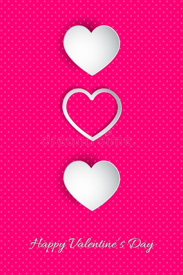 Happy Valentine`s Day lettering Vector illustration! Beautiful Heart! Abstract paper art 3D Hearts on pink background royalty free illustration