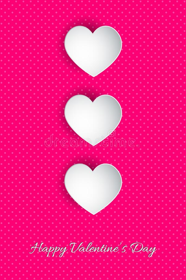 Happy Valentine`s Day lettering Vector illustration! Beautiful Heart! Abstract paper art 3D Hearts on pink background vector illustration