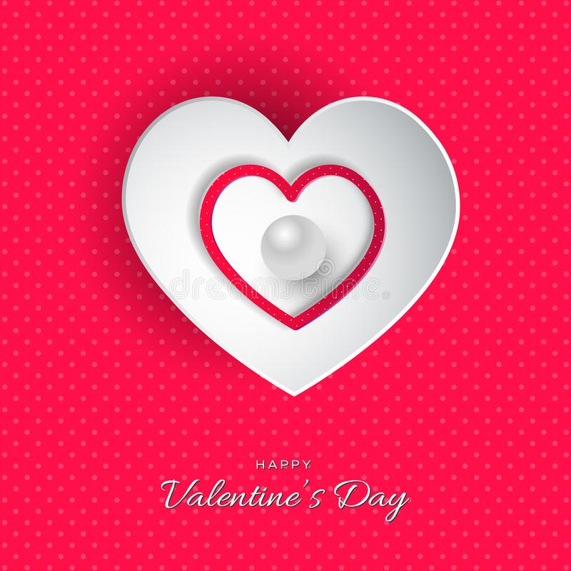 Happy Valentine`s Day lettering Vector illustration! Beautiful Heart! Abstract paper art 3D Hearts on pink background. With dots royalty free illustration