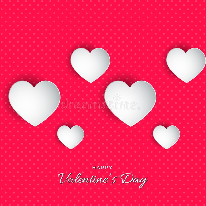 Happy Valentine`s Day lettering Vector illustration! Beautiful Heart! Abstract paper art 3D Hearts on pink background. With dots stock illustration