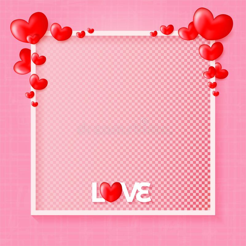 Happy Valentine`s Day Love greetings design with 3D hearts background stock illustration