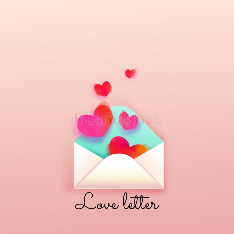 Happy valentine`s day. Love letter sweet pastel color.  stock illustration