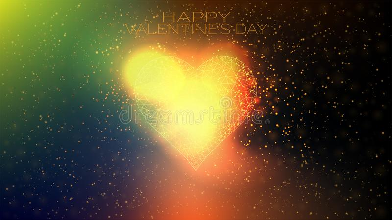 Happy valentine`s day. Low polygonal heart with stars and bright glow.  vector illustration