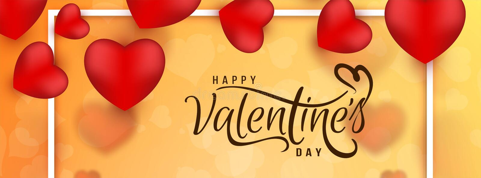 Happy Valentine`s day modern banner template. Vector royalty free illustration