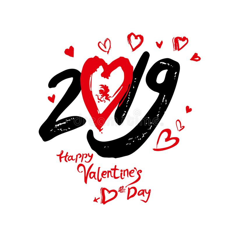 Happy Valentine`s Day 2019 modern calligraphy. Handwritten lettering. Black and red calligraphic text with red hearts and red litt vector illustration