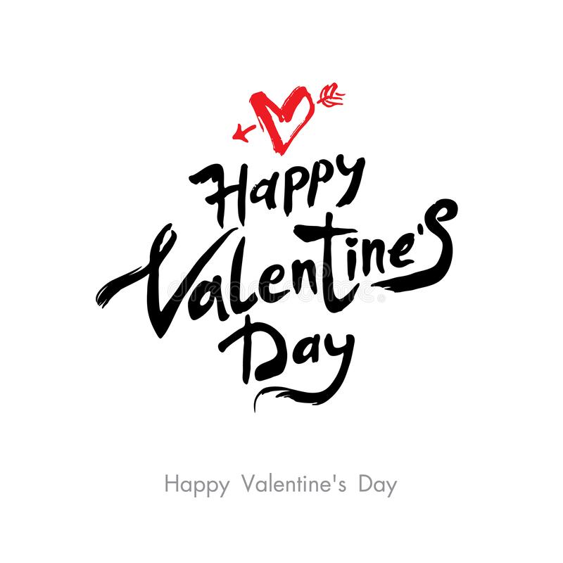 Happy Valentine`s Day modern calligraphy. Valentines day holidays typography. Handwritten lettering. royalty free illustration