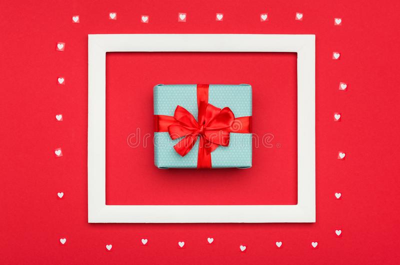 Happy Valentine`s Day, Mother`s Day, Women`s Day or Birthday Background. Flat lay with beautifully wrapped present. Happy Valentine`s Day, Mother`s Day, Women`s stock photo