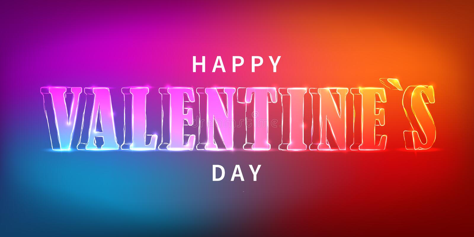 Happy valentine`s day neon sign electric vector banner.  stock illustration