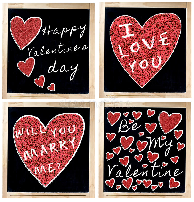 Free Happy Valentine S Day On Blackboard Royalty Free Stock Image - 29023146