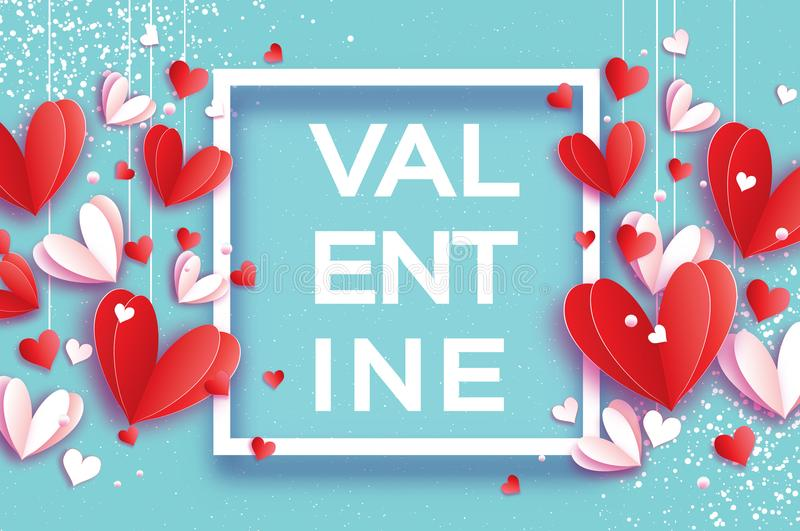 Happy Valentine`s day. Origami flying red, white hearts in paper cut style on sky blue. Square frame. Valentine Text. Romantic Holidays. Love. 14 February royalty free illustration