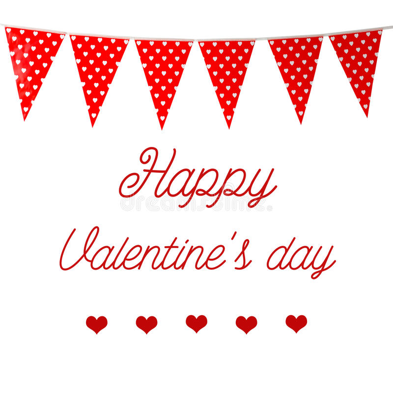 Free Happy Valentine`s Day Over Red Bunting Party Flag With Heart Pat Royalty Free Stock Photography - 85540277
