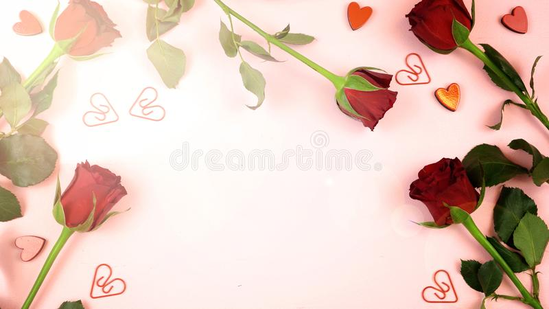 Happy Valentine`s Day overhead background with lens flare. stock photography