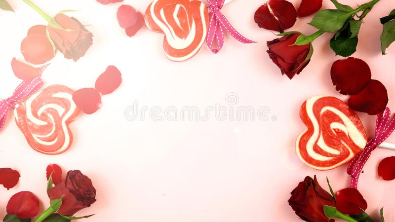 Happy Valentine`s Day overhead background with lens flare. royalty free stock images